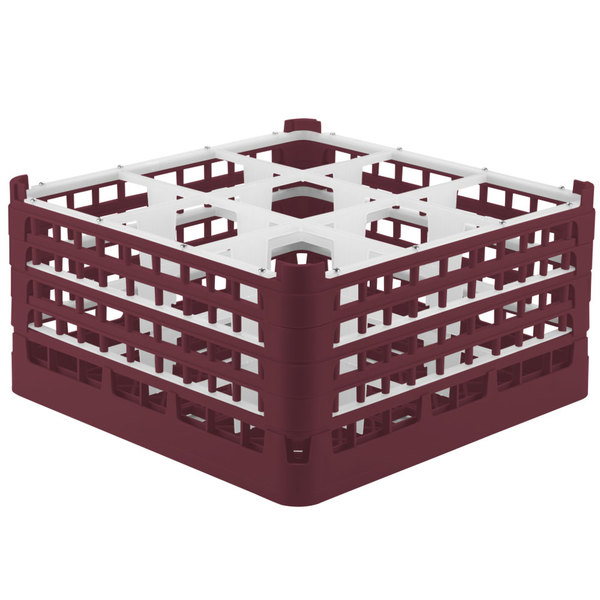 """Vollrath 52729 Signature Full-Size Burgundy 9-Compartment 8 1/2"""" XX-Tall Glass Rack"""