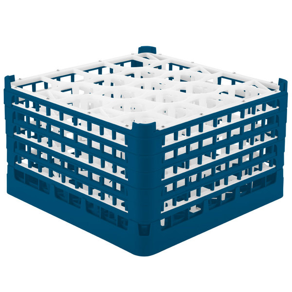 "Vollrath 52755 Signature Lemon Drop Full-Size Royal Blue 20-Compartment 10 9/16"" XXX-Tall Plus Glass Rack Main Image 1"