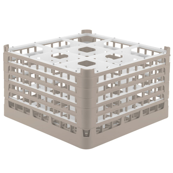 """Vollrath 52731 Signature Full-Size Beige 9-Compartment 9 15/16"""" XXX-Tall Glass Rack Main Image 1"""