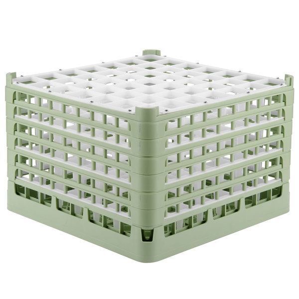 "Vollrath 52740 Signature Full-Size Light Green 49-Compartment 11 3/8"" XXXX-Tall Glass Rack Main Image 1"