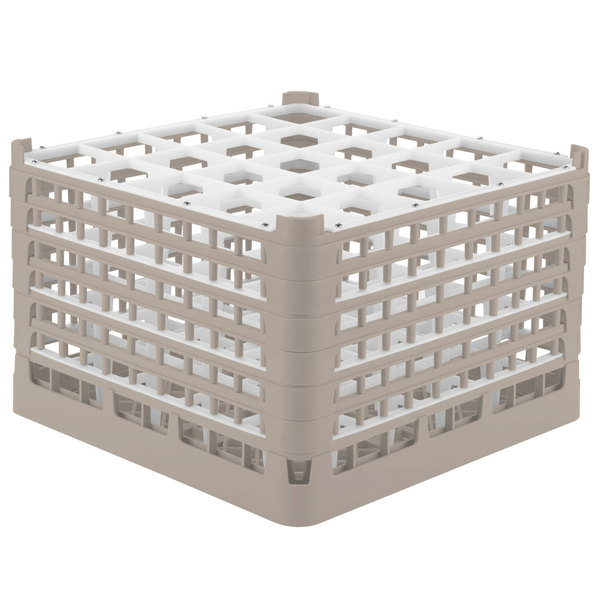 """Vollrath 52738 Signature Full-Size Beige 25-Compartment 11 3/8"""" XXXX-Tall Glass Rack Main Image 1"""