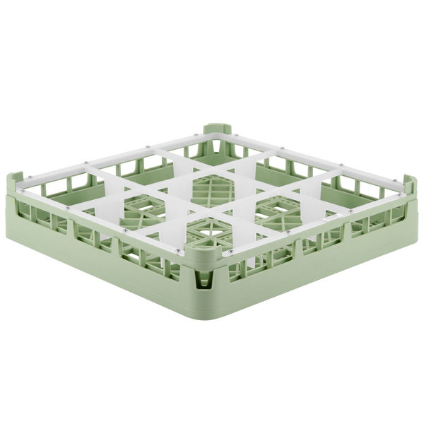 "Vollrath 5276010 Signature Full-Size Light Green 9-Compartment 3 1/4"" Short Plus Glass Rack"