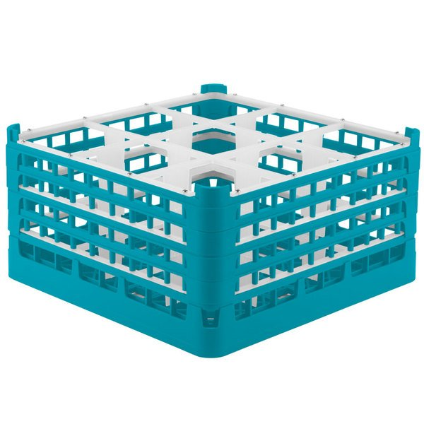 "Vollrath 52729 Signature Full-Size Light Blue 9-Compartment 8 1/2"" XX-Tall Glass Rack Main Image 1"