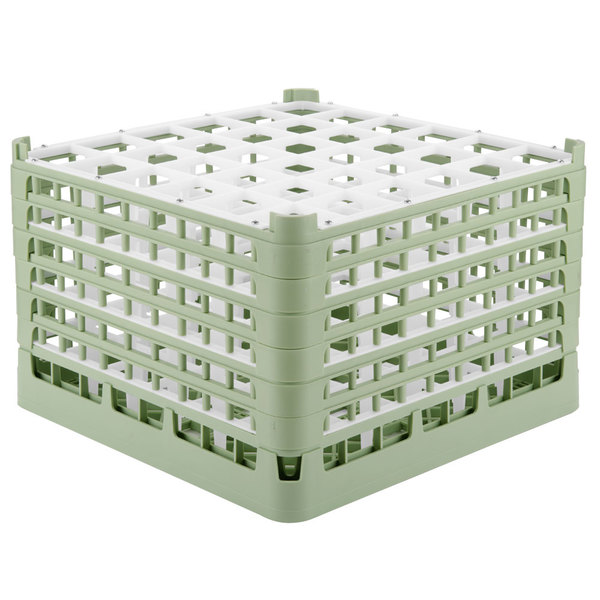 "Vollrath 52739 Signature Full-Size Light Green 36-Compartment 11 3/8"" XXXX-Tall Glass Rack"