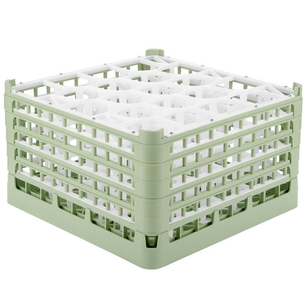 "Vollrath 52755 Signature Lemon Drop Full-Size Light Green 20-Compartment 10 9/16"" XXX-Tall Plus Glass Rack Main Image 1"