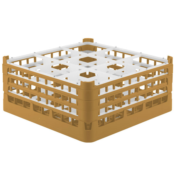 """Vollrath 52730 Signature Full-Size Gold 9-Compartment 7 1/8"""" X-Tall Glass Rack Main Image 1"""