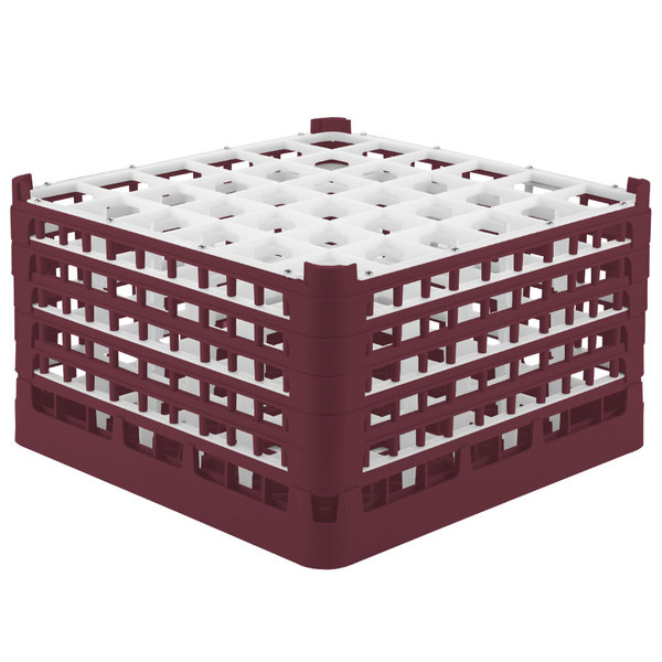 "Vollrath 52734 Signature Full-Size Burgundy 36-Compartment 9 15/16"" XXX-Tall Glass Rack"