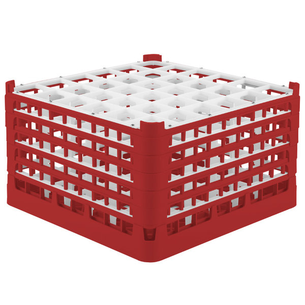 """Vollrath 52734 Signature Full-Size Red 36-Compartment 9 15/16"""" XXX-Tall Glass Rack"""