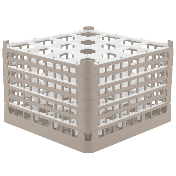 "Vollrath 5273722 Signature Full-Size Beige 16-Compartment 11 3/8"" XXXX-Tall Glass Rack Main Image 1"