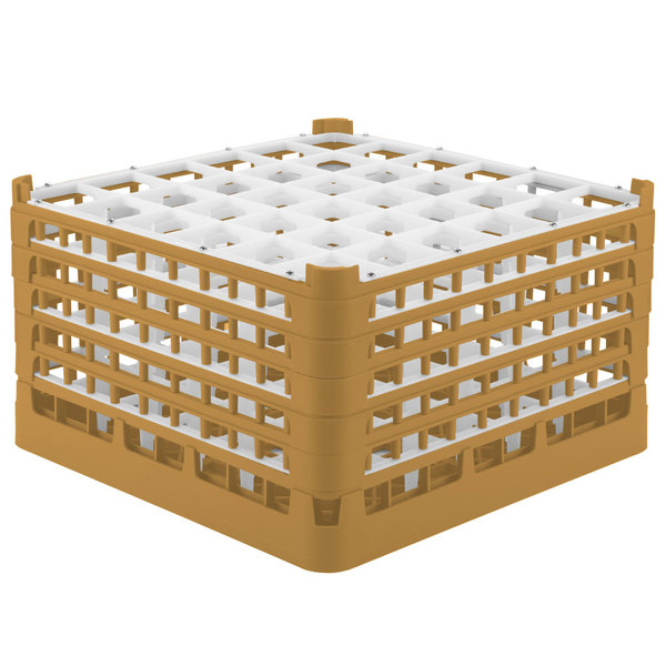 "Vollrath 52734 Signature Full-Size Gold 36-Compartment 9 15/16"" XXX-Tall Glass Rack"