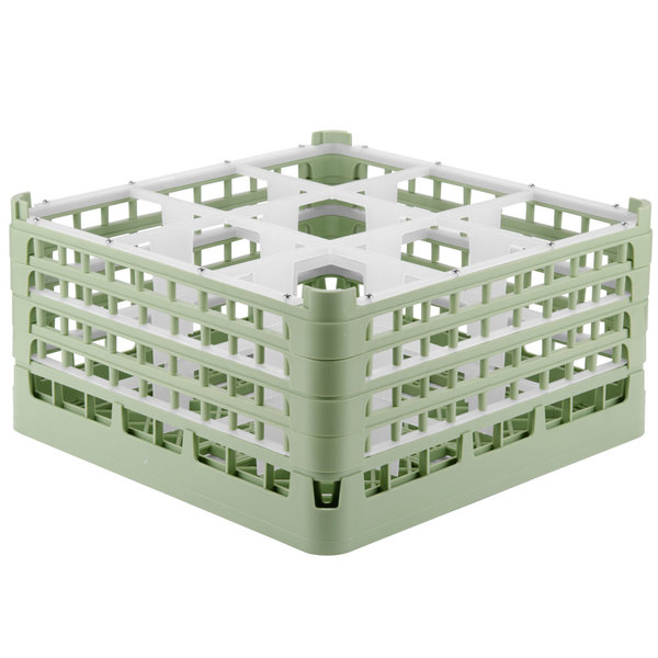 """Vollrath 52729 Signature Full-Size Light Green 9-Compartment 8 1/2"""" XX-Tall Glass Rack Main Image 1"""