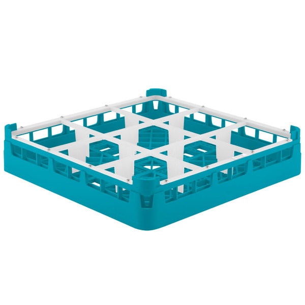 "Vollrath 5276044 Signature Full-Size Light Blue 9-Compartment 3 1/4"" Short Plus Glass Rack Main Image 1"