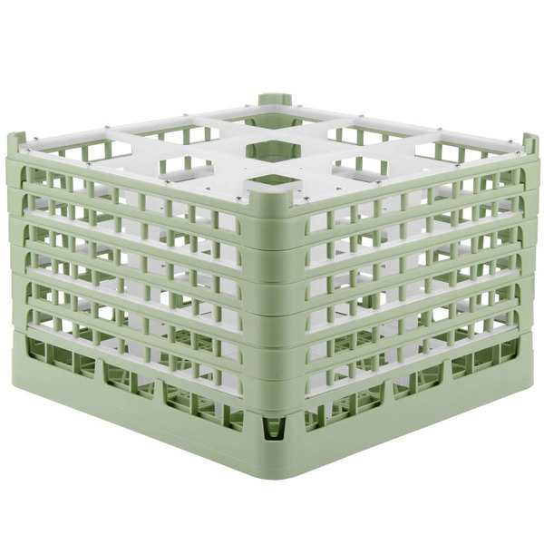 "Vollrath 52736 Signature Full-Size Light Green 9-Compartment 11 3/8"" XXXX-Tall Glass Rack Main Image 1"