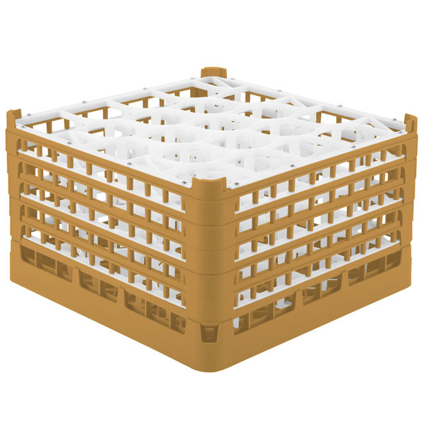 "Vollrath 52755 Signature Lemon Drop Full-Size Gold 20-Compartment 10 9/16"" XXX-Tall Plus Glass Rack"