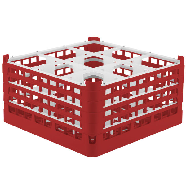 """Vollrath 52729 Signature Full-Size Red 9-Compartment 8 1/2"""" XX-Tall Glass Rack"""