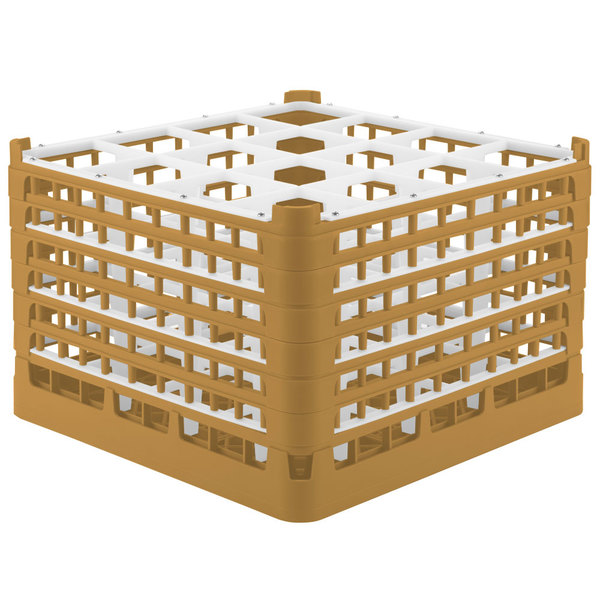 """Vollrath 52737 Signature Full-Size Gold 16-Compartment 11 3/8"""" XXXX-Tall Glass Rack"""