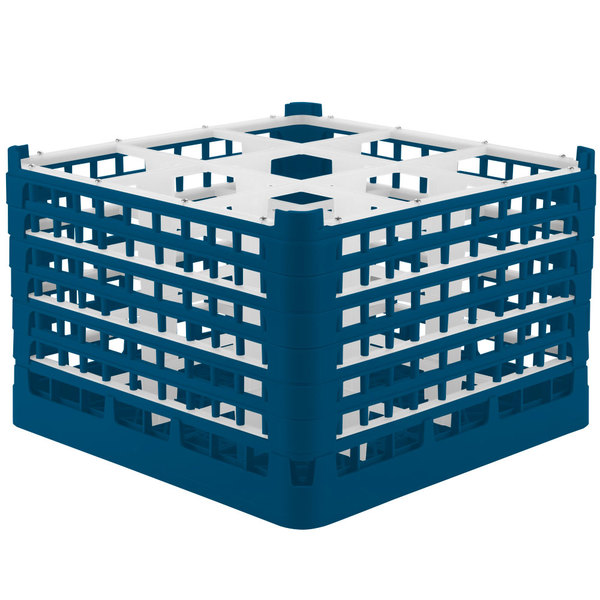 """Vollrath 52736 Signature Full-Size Royal Blue 9-Compartment 11 3/8"""" XXXX-Tall Glass Rack Main Image 1"""