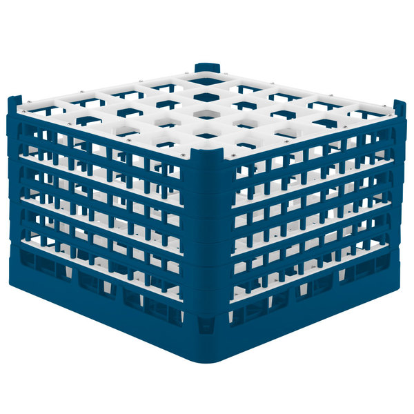 "Vollrath 52738 Signature Full-Size Royal Blue 25-Compartment 11 3/8"" XXXX-Tall Glass Rack Main Image 1"