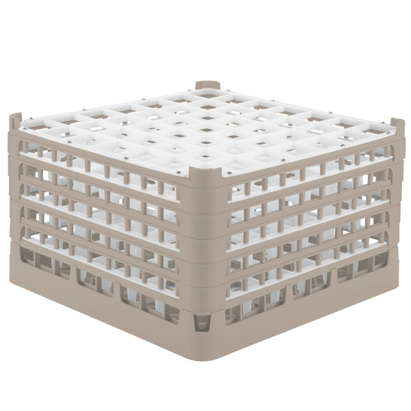 "Vollrath 52735 Signature Full-Size Beige 49-Compartment 9 15/16"" XXX-Tall Glass Rack Main Image 1"