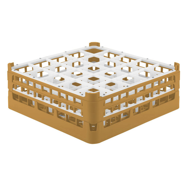 "Vollrath 52774 Signature Full-Size Gold 25-Compartment 6 1/4"" Tall Plus Glass Rack"