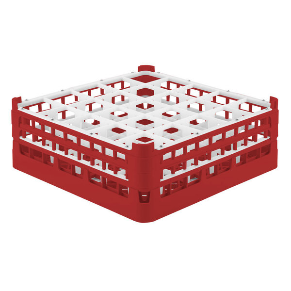 """Vollrath 52774 Signature Full-Size Red 25-Compartment 6 1/4"""" Tall Plus Glass Rack"""