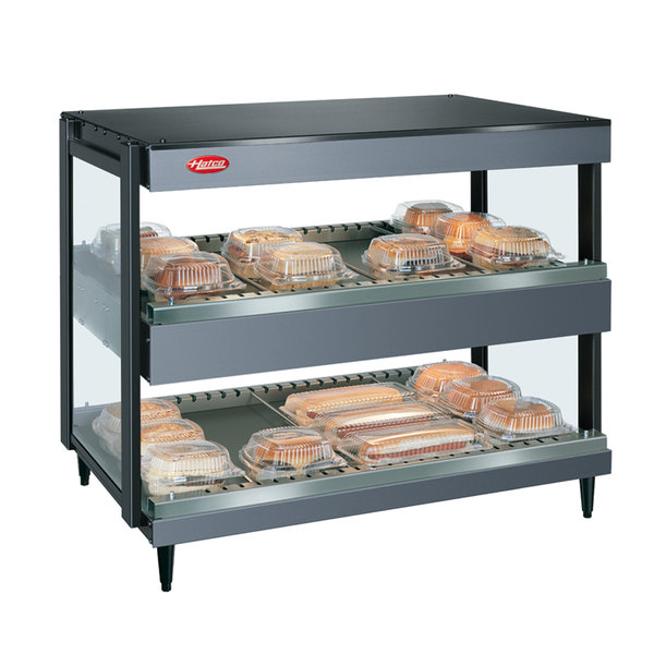 "Hatco GRSDH-36D Gray Granite Glo-Ray 36"" Horizontal Double Shelf Merchandiser - 120/240V"