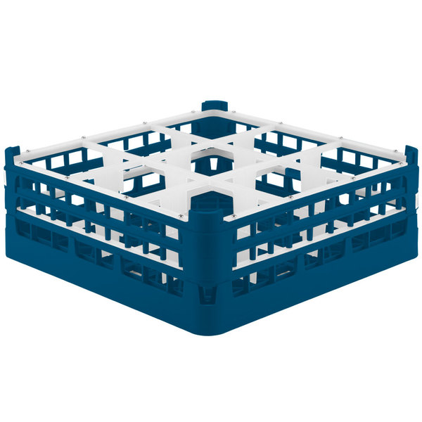 """Vollrath 52762 Signature Full-Size Royal Blue 9-Compartment 6 1/4"""" Tall Plus Glass Rack"""