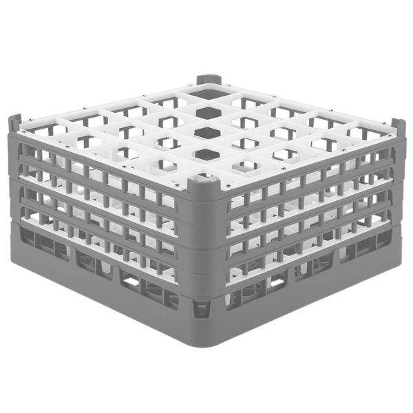 """Vollrath 52776 Signature Full-Size Gray 25-Compartment 9 1/16"""" XX-Tall Plus Glass Rack Main Image 1"""