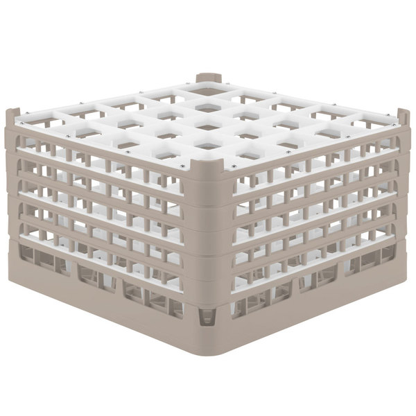 "Vollrath 52777 Signature Full-Size Beige 25-Compartment 10 9/16"" XXX-Tall Plus Glass Rack"