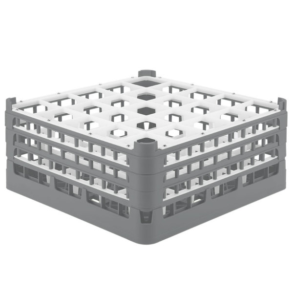 """Vollrath 52775 Signature Full-Size Gray 25-Compartment 7 11/16"""" X-Tall Plus Glass Rack"""