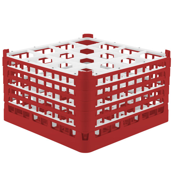 """Vollrath 52771 Signature Full-Size Red 16-Compartment 10 9/16"""" XXX-Tall Plus Glass Rack"""