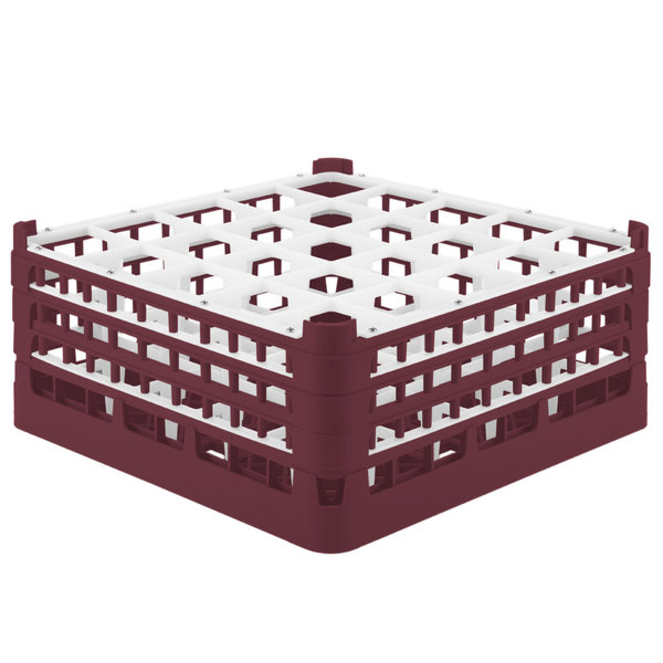 "Vollrath 52775 Signature Full-Size Burgundy 25-Compartment 7 11/16"" X-Tall Plus Glass Rack"