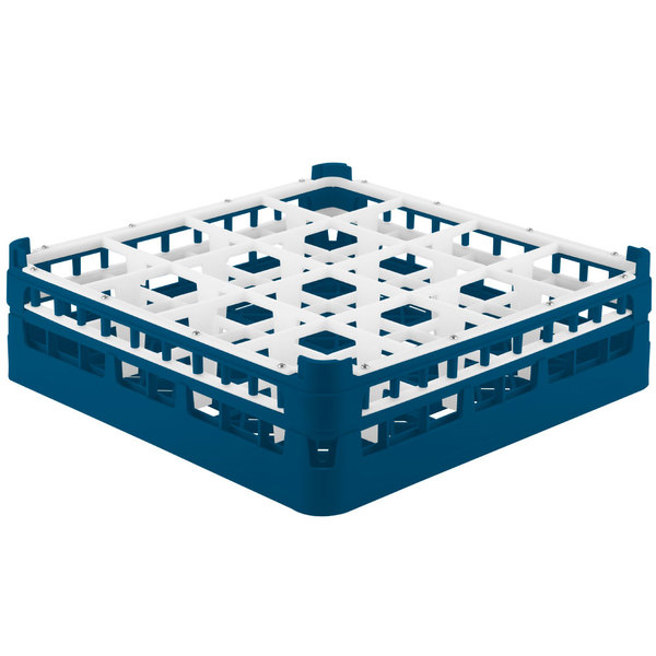 "Vollrath 52767 Signature Full-Size Royal Blue 16-Compartment 4 13/16"" Medium Plus Glass Rack"