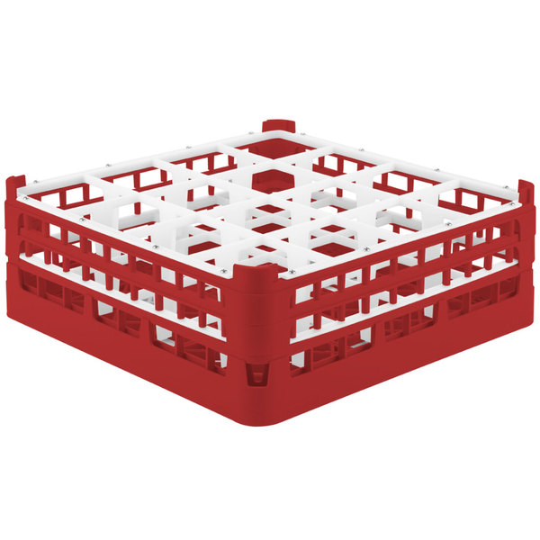 """Vollrath 52768 Signature Full-Size Red 16-Compartment 6 1/4"""" Tall Plus Glass Rack"""