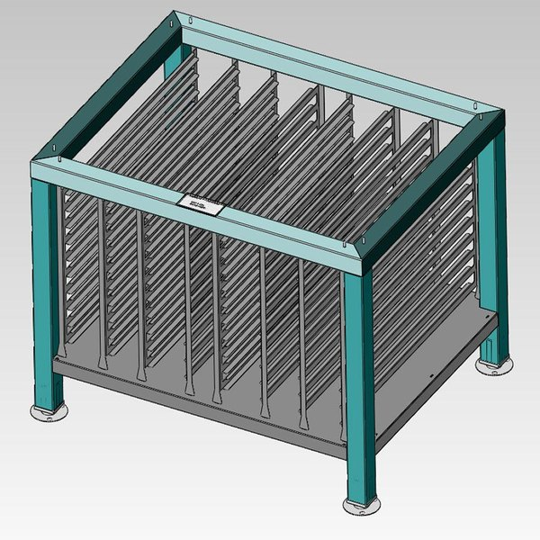 Alto-Shaam 5005732 Stationary Stainless Steel Stand for 7-14ES, 7-14ESG, 7-14ESi, 10-18ES, and 10-18ESi Combitherm Combi Ovens - with Pan Slides and Shelf