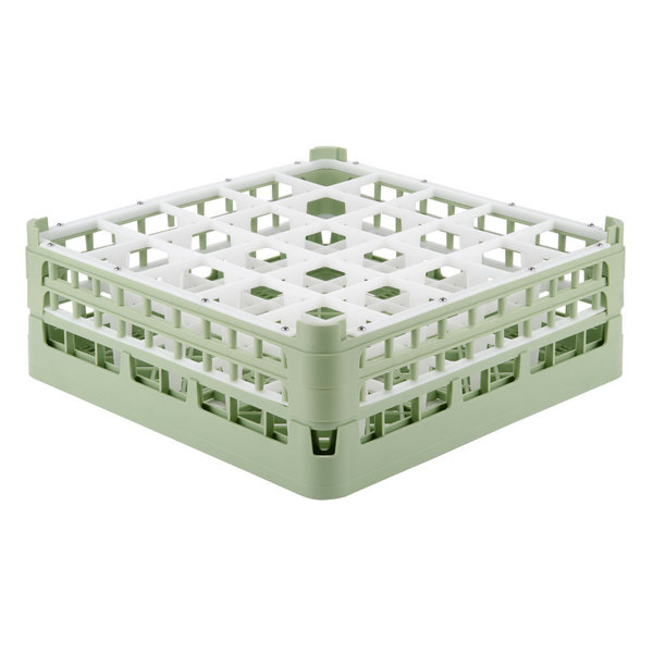 """Vollrath 52774 Signature Full-Size Light Green 25-Compartment 6 1/4"""" Tall Plus Glass Rack"""