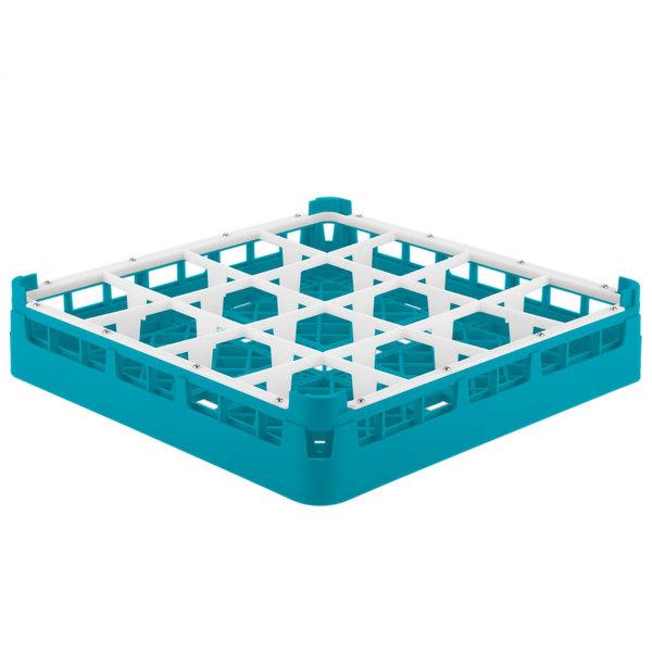 "Vollrath 52766 Signature Full-Size Light Blue 16-Compartment 3 1/4"" Short Plus Glass Rack Main Image 1"