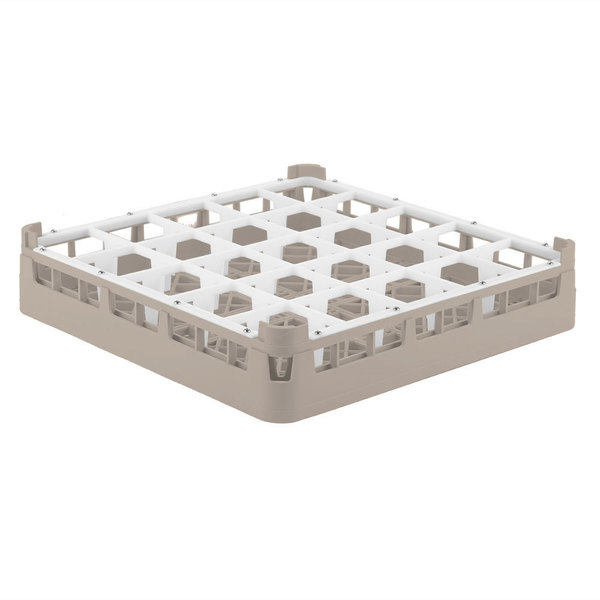 "Vollrath 52772 Signature Full-Size Beige 25-Compartment 3 1/4"" Short Plus Glass Rack"