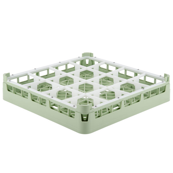 "Vollrath 52766 Signature Full-Size Light Green 16-Compartment 3 1/4"" Short Plus Glass Rack"