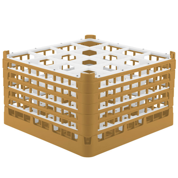 """Vollrath 52771 Signature Full-Size Gold 16-Compartment 10 9/16"""" XXX-Tall Plus Glass Rack"""