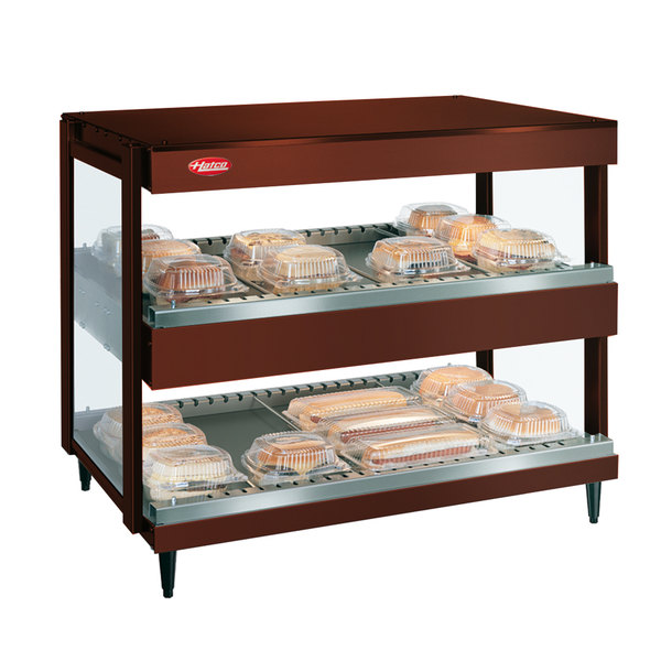 "Hatco GRSDH-41D Antique Copper Glo-Ray 41"" Horizontal Double Shelf Merchandiser - 120/208V"