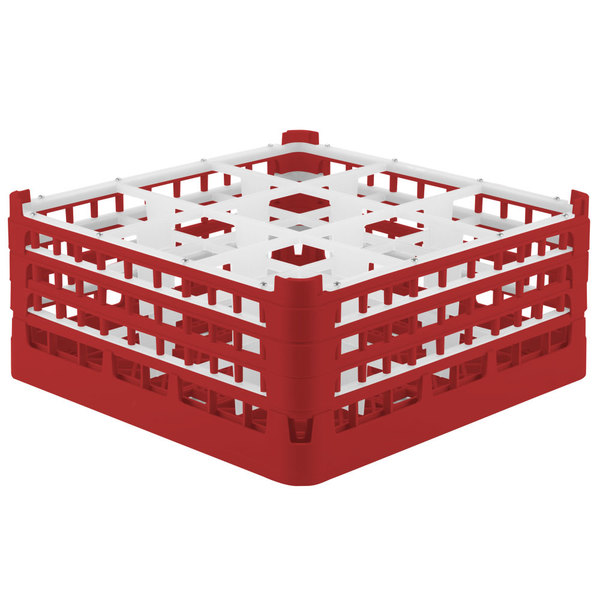 "Vollrath 52763 Signature Full-Size Red 9-Compartment 7 11/16"" X-Tall Plus Glass Rack Main Image 1"