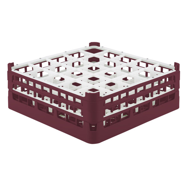 """Vollrath 52774 Signature Full-Size Burgundy 25-Compartment 6 1/4"""" Tall Plus Glass Rack Main Image 1"""