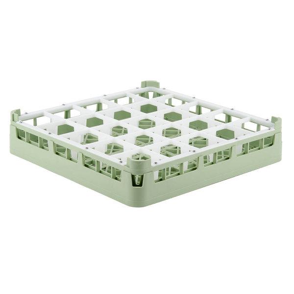"Vollrath 52772 Signature Full-Size Light Green 25-Compartment 3 1/4"" Short Plus Glass Rack"