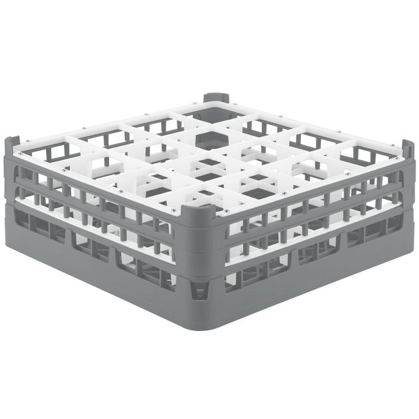 """Vollrath 52768 Signature Full-Size Gray 16-Compartment 6 1/4"""" Tall Plus Glass Rack Main Image 1"""