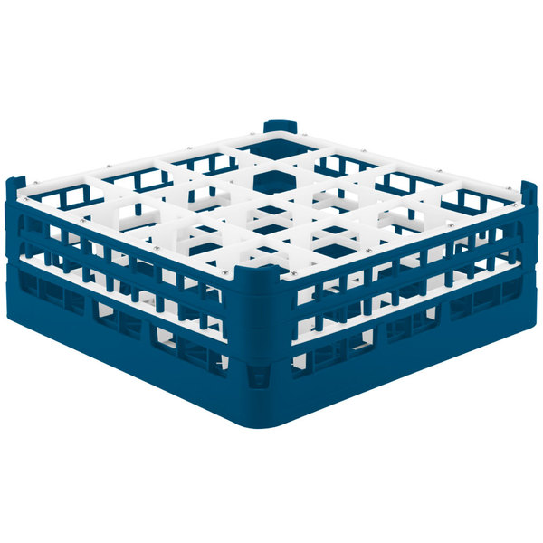 """Vollrath 52768 Signature Full-Size Royal Blue 16-Compartment 6 1/4"""" Tall Plus Glass Rack Main Image 1"""
