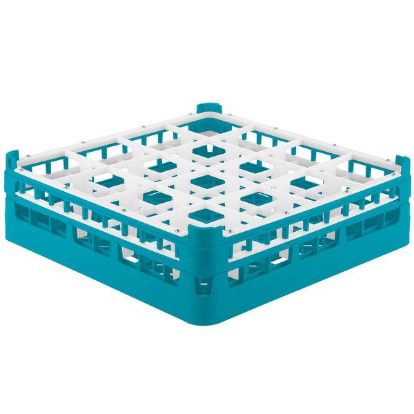 """Vollrath 52767 Signature Full-Size Light Blue 16-Compartment 4 13/16"""" Medium Plus Glass Rack Main Image 1"""
