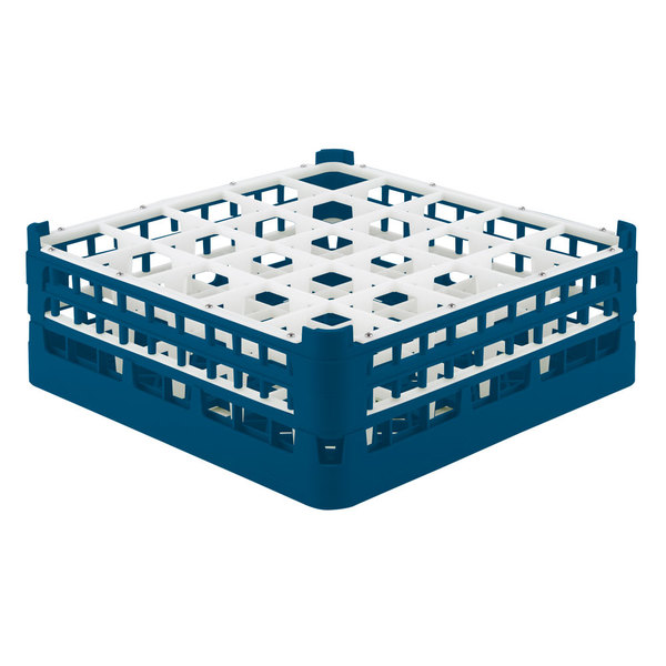 "Vollrath 52774 Signature Full-Size Royal Blue 25-Compartment 6 1/4"" Tall Plus Glass Rack Main Image 1"