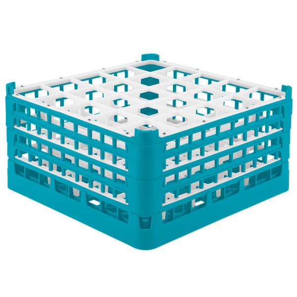 "Vollrath 52776 Signature Full-Size Light Blue 25-Compartment 9 1/16"" XX-Tall Plus Glass Rack"