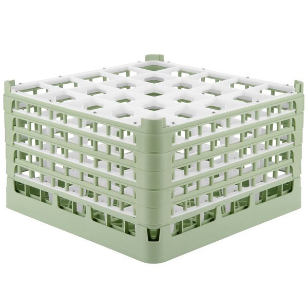 "Vollrath 52777 Signature Full-Size Light Green 25-Compartment 10 9/16"" XXX-Tall Plus Glass Rack Main Image 1"